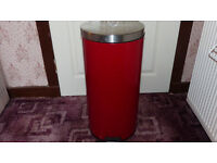 Steel bin as new and steam mop cleaner new with spare pads