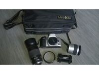 comprehensive MINOLTA camera kit DYNAX 500si & twin DF28-80 & 75-300 zoom lenses