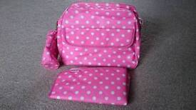 Pink dotty changing bag, brand new with tags