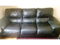 BLACK LEATHER 3 SEAT AND 2 SEAT SOFAS, GOOD CONDITION, QUICK SALE WANTED, OFFERS CONSIDERED