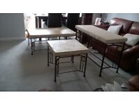 Furniture Set of 3 Ornate Fossil Stone Tables (As New)