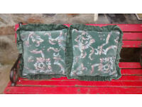 2 cushions & covers, good condition, 39cm 39cm, with frills 52cm x 52cm, velvety, scatter in garden