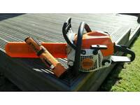 STIHL MS 181 chainsaw & a STHIL chain sharpening kit, Full can of fuel and a bottle of chain oil
