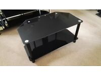 Two-tier black glass TV stand