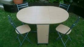 Butterfly folding table and 4 Chairs