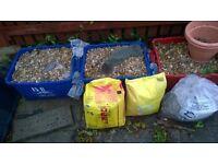 Trays of garden pebbles