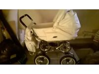 pram, cot, mossies basket and highchair