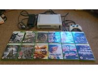 Xbox 360 with controller, connections and 12 games