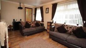 2 x DFS Zest Brown Leather & Fabric Sofas Chrome Feet 3 Seaters Very Good Condition