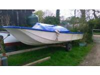 Boat dory project boat no trailer needs work cabin been cut of so will need glassing back on now