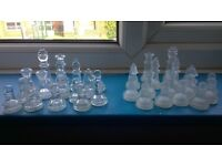 set of chess pieces - glass & frosted - new