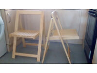Pair of Solid Wood Folding Chairs