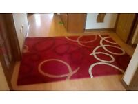 Red pure wool heavy living room rug 200x140cm