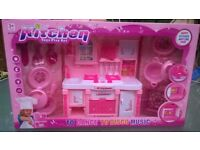 Kitchen plays toy set with sound - pink, new