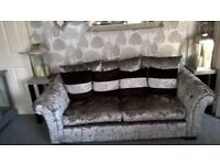 Crushed velvet sofa and 2x chairs