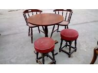 Ex pub table, two stools and two chairs