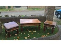 jali coffee table and 2 side tables
