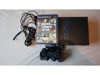 PLAYSTATION 2 + GTA GRAND THEFT AUTO SAN ANDREAS + CONTROLLER + CABLES