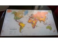 Large world map perfectly framed central bargain