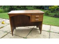 Beautiful Antique oak bound child's desk 2 drawers and slide shelf £75
