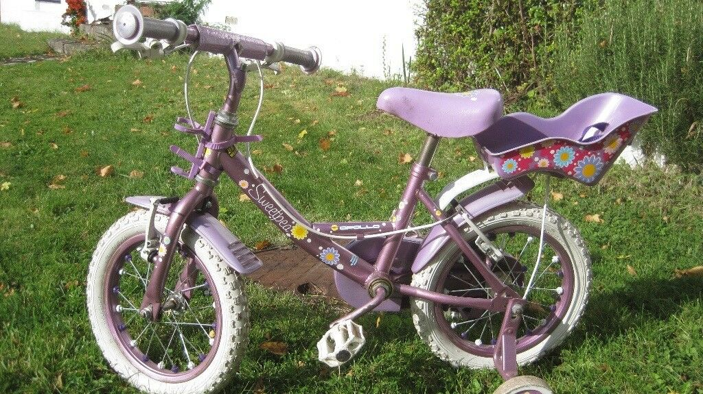 Girls Apollo Bike with stabilisers and doll's seat
