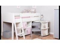 (Brand New) Bunk Bed Mid Sleeper Frame with Desk & Cube