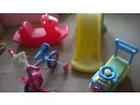 little tikes selection slide, playhouse, bike and seasaw