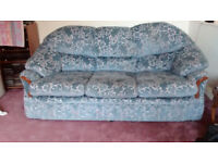 Three piece lounge suite comprising of three seater settee and two armchairs in good condition