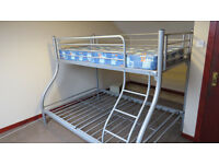 SILVER TRIPLE BUNK BEDS WITH OR WITHOUT MATTRESSES