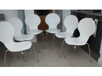 6 White Curved JL Dining Chairs