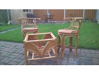 Two Cane & Wicker Chairs and table