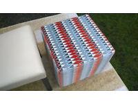 A New Ashley Manor Cube Fabric Footstool.