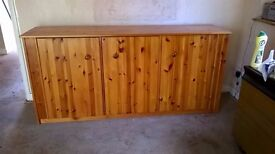 Large pine cupboard with three doors