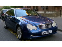 MERCEDES C180 KOMPRESSOR SE COUPE 2003 53 REG MET BLUE / LEATHER 6 SPEED MANUAL PAS A/C 159K MILES