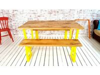 Any RAL Colour Tapered Leg Industrial Dining Table / Bench Sets - Powder Coating!