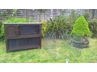 Double rabbit hutch and run