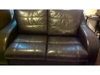 Brown leather 2seater sofa (Delivery)
