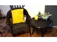 Vintage Bamboo & Wicker chair & Table