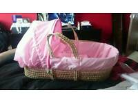 Moses basket pink girls