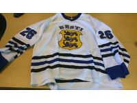 game worn Estonia ice hockey jersey. 2xl