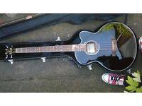 Legacy LEB60CEBK Black Electro-Acoustic Bass Guitar (c/w Hard Case) For Sale. £90