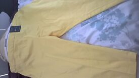 m&s crop trousers yellow 18