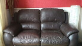 Leather Sofa - 2 Seater/Recliner - Chocolate Colour. Delivery Available.