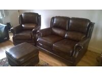 Thomas Lloyd Leather Sofa, Armchair and Foot stool.