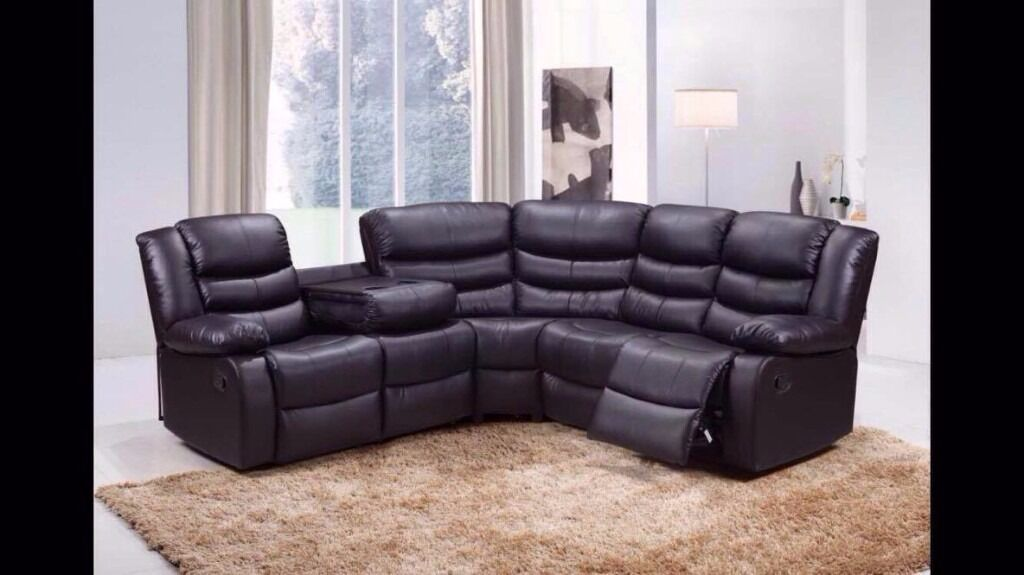 Hanna Bonded Leather Corner Recliner Sofa 2 Cupholders Free Delivery Finance Now