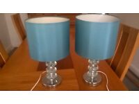 Pair of table lamps in duck egg blue