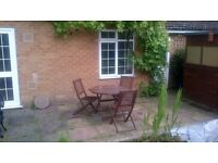 WOODEN GARDEN TABLE, 3 MATCHING CHAIRS AND BENCH SET