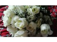Bouquet Holder And Plastic Ivory Bouquet Of Roses