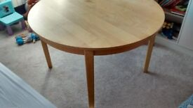 Heavy Round Wooden Table + 2 Extension Birch colour