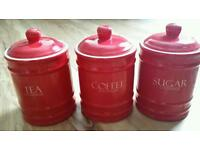 Red Tea Coffee Sugar Storage Cannisters